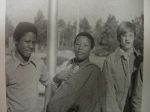 Anthony Outterbridge, Reginald Savage and Keith Britt hanging out by the flag pole.  1974-1975