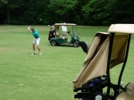 Tery Kahoe, Denna Howell's husband, attempting another great shot from the middle of the fairway.